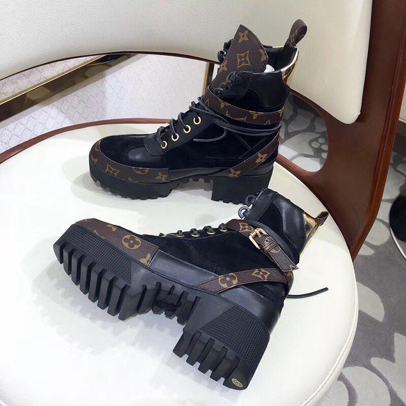 Женские ботинки Louis Vuitton на высокой платформе и шнуровке с принтом 4e016f9f263