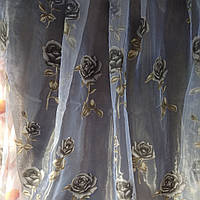"""Тюль с печатью на органзе """"Димчятая роза"""" высота 2.8"""