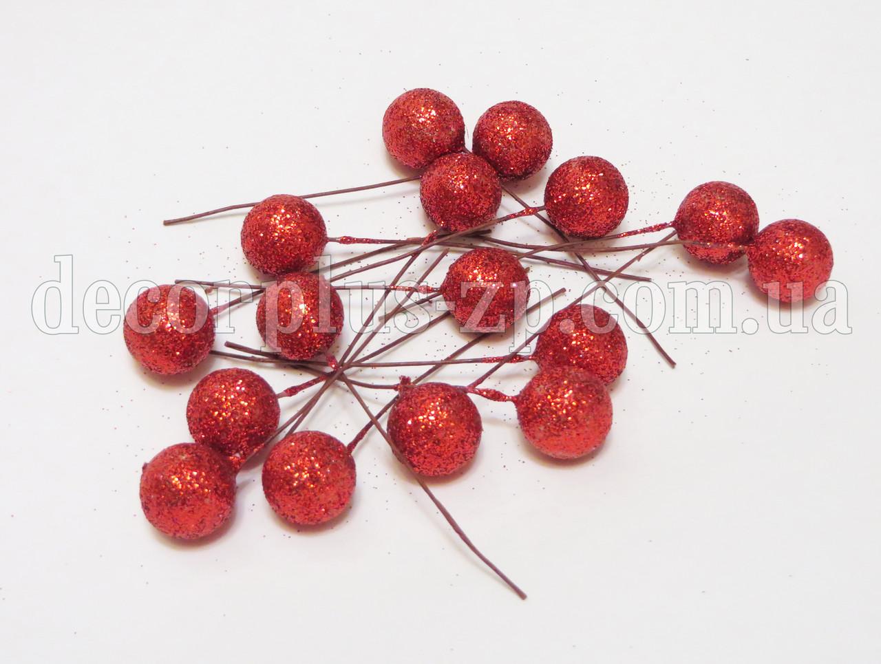 Шарики блестящие 1,5см красные