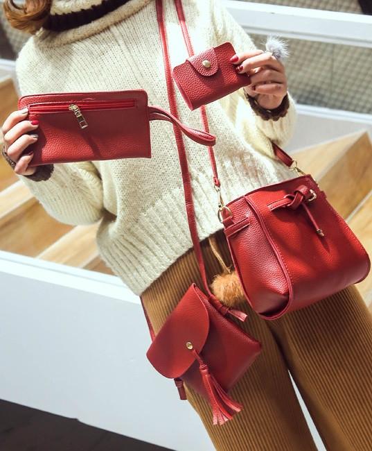 d8ba22f12342 Комплект 4-в-1 сумка через плечо клатч визитница кошелёк кожа PU черный  красный коричневый персиковый., цена 384 грн., купить в Краматорске —  Prom.ua ...