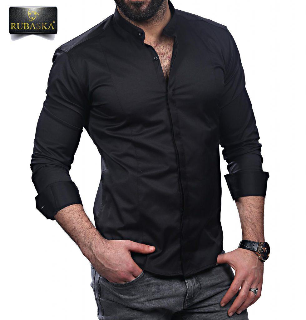 b7d7cb96896 Черная Мужская Рубашка с Длинным Рукавом Из Турции