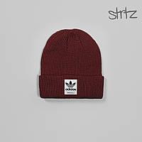 Шапка Adidas бордового цвета  (люкс копия)