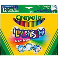 Смываемые фломастеры Супер чисто с широким наконечником, 12 штук, Crayola