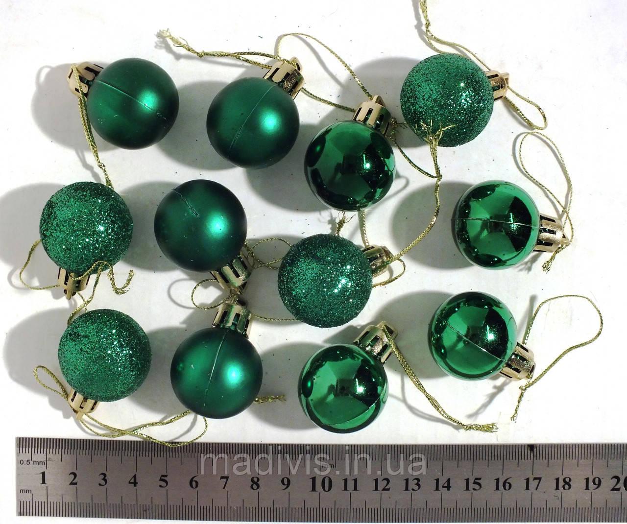 Набор новогодних шариков микс зеленыхх, 3 см., 12 шт.