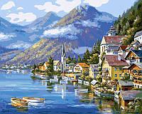 Картина раскраска по номерам Хальштадт Австрия 50х40 см Белоснежка