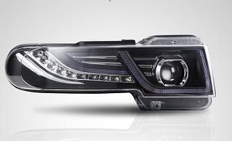Передние фары с поворотом Led тюнинг оптика Toyota FJ Cruiser стиль Evoque рестайлинг