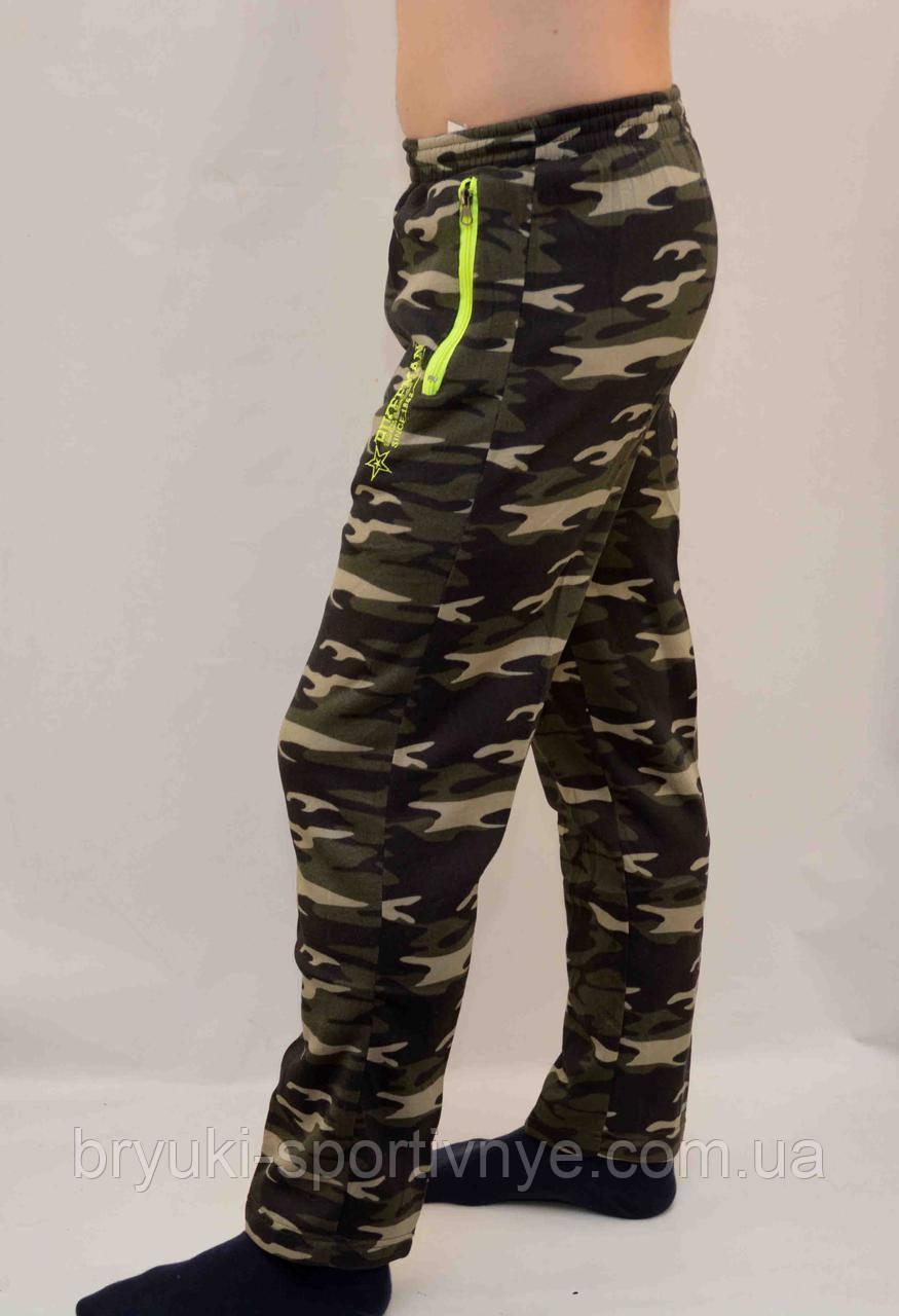 Спортивні штани камуфляжні зимові з кишенями на блискавці - розмір М