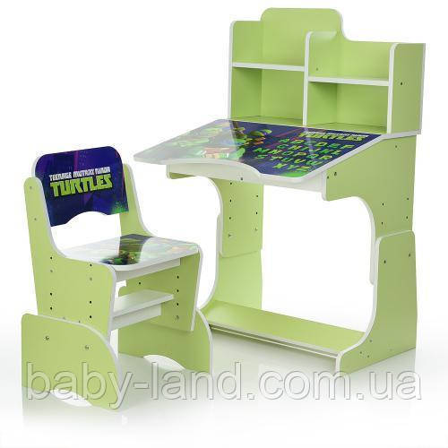 """Парта-стіл дитячий регульована """"Черепашки Ніндзя"""" Bambi W 2071-46-3 салатова"""