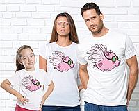 Новорічні Футболки Family Look, фемили лук, для всей семьи, Свинки