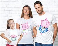 Новорічні Футболки Family Look, фемили лук, для всей семьи,Свинки