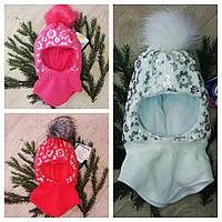 Детский шапка-шлем на флисе  дле девочек (1-2года) GRANS, фото 1