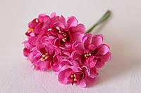 Цветы хризантемы (астры) 6 шт. диаметр 3,5-4 см малинового цвета, фото 1