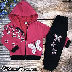 Теплый костюм с капюшоном и бабочками для девочки Размеры: 4,5,6 лет (7479)