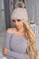 Зимняя женская шапка «Аваланж» Светлый кофе