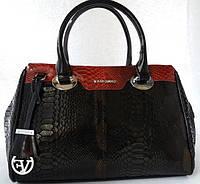 a748c6e09808 Роскошная женская сумка чёрно - вишнёвого цвета из натуральной кожи