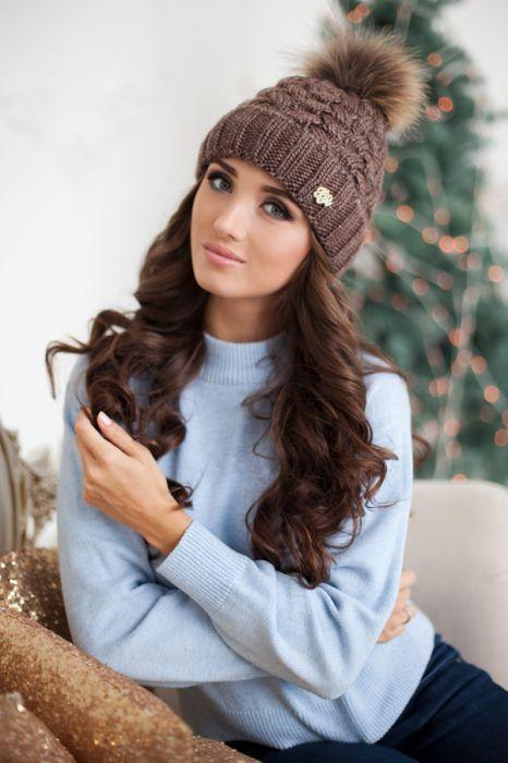 Зимняя женская шапка «Аваланж» Светло-коричневый