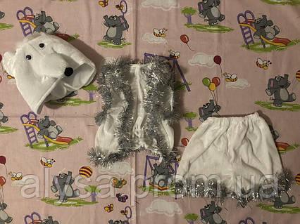 """Детский карнавальный костюм """"Белый медведь"""" (велюр)"""
