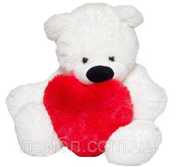 Большой плюшевый белый медведь Бублик с сердцем, 2 метра