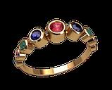 Комплект із золотих сережок і кільця, фото 2