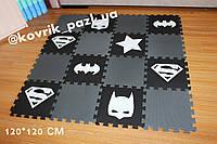 Игровой коврик пазл для мальчика 120*120 см (16 шт, черный, белый, серый)