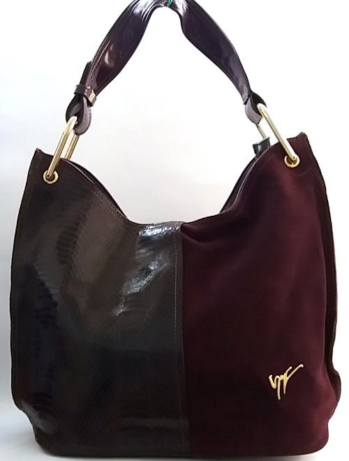 fc1e5362f8d4 Очаровательная женская сумка из натуральной кожи и замша - Интернет-магазин  стильных сумок