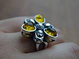 Серебряное кольцо с янтарем, фото 2
