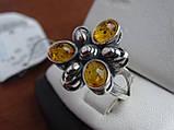 Серебряное кольцо с янтарем, фото 4