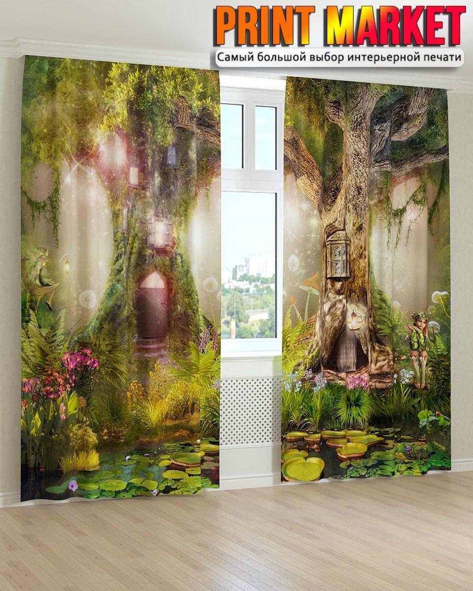 Фотошторы фрески дом в дереве