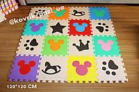 Игровой коврик пазл для мальчика 120*120 см (16 шт, кофейный, бежевый, радуга)