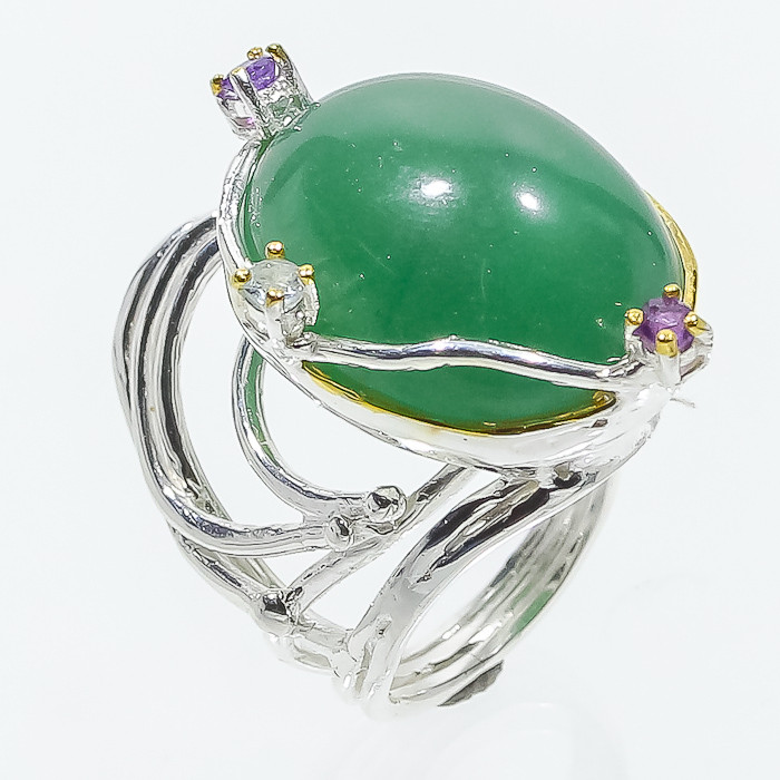 Хризопраз аметист кольцо с натуральным хризопразом аметистом 19 размер Таиланд, фото 1