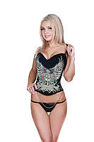 Женский корсет LEAKSA. Корсет в готическом стиле черного цвета с декором из страз B1681