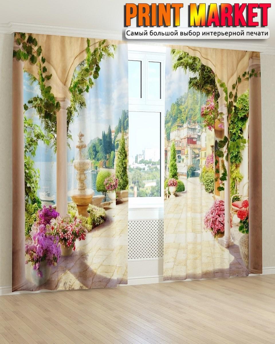 Фотошторы фрески цветочные вазоны