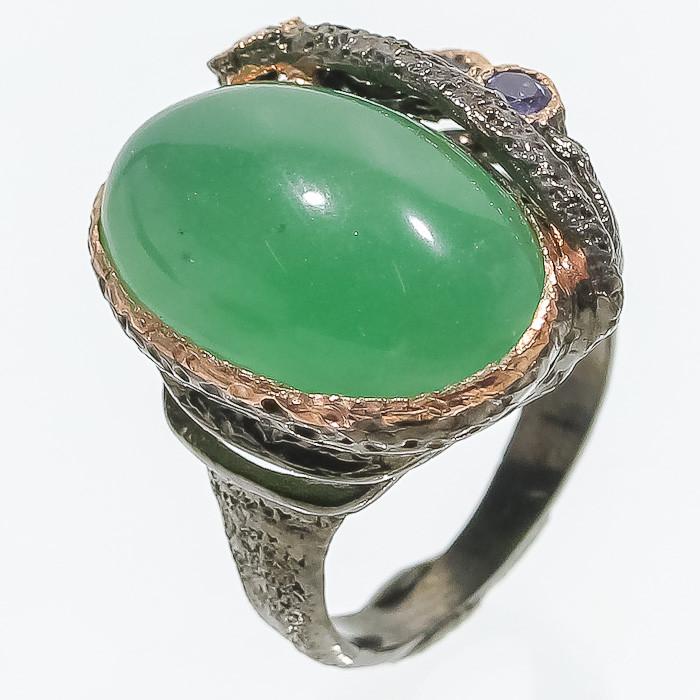 Хризопраз иолит кольцо с натуральным хризопразом иолитом 18.5-19 размер Таиланд