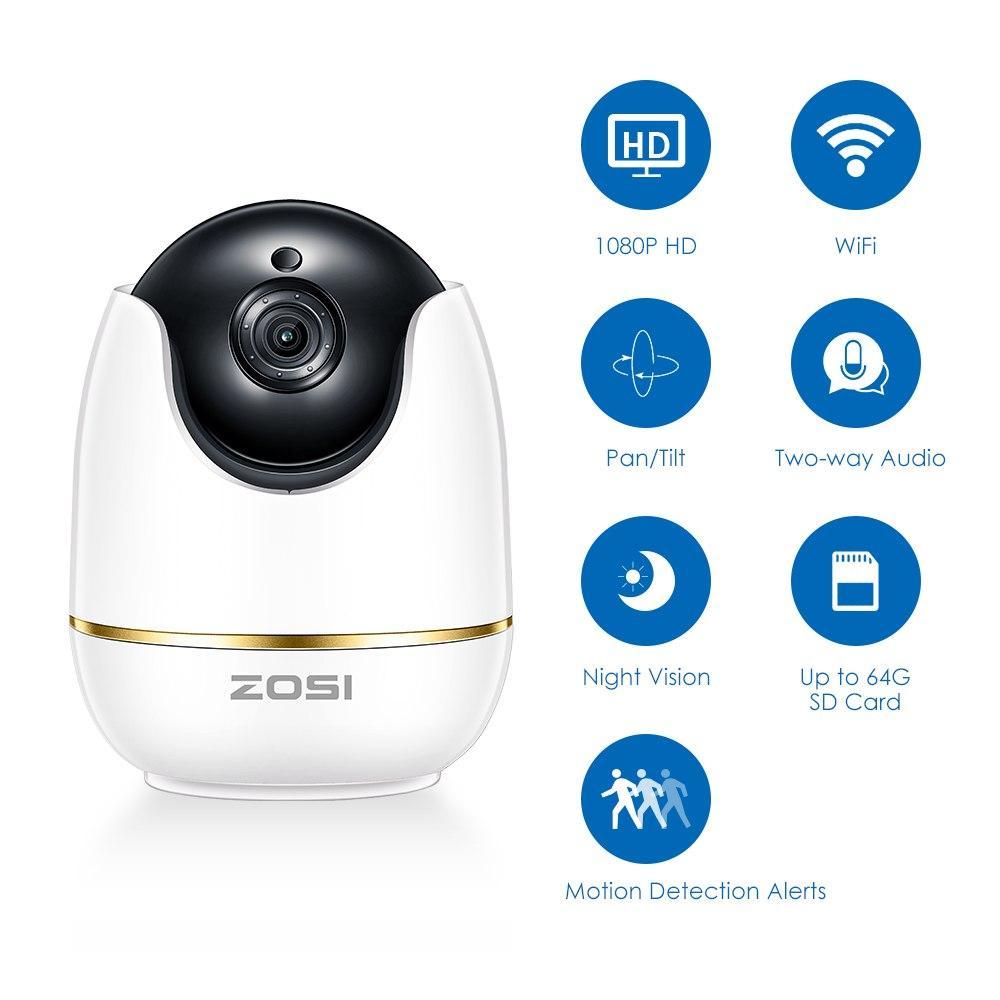 Поворотная Onvif WiFi IP камера Zosi 1ND-5122M-W 1080P. Zosi smart
