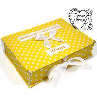 Скринька Мамині скарби для дівчинки на народження ручної роботи 20 на 28 см, величезна