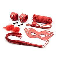 Набор красный Садо-мазо,фетиш,BDSM.БДСМ Плетка, веревка 5 м.,маска, кляп,наручники.зажимы на соски.
