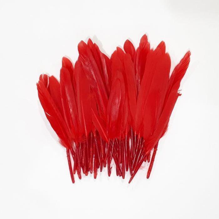 Перья красные 10-15 см 50шт