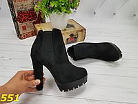Модные женские ботинки ботильоны осень весна из экозамши утепленные флисом  высокий каблук черные, р 35 420523a65c9
