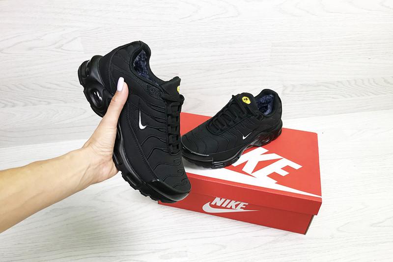 18cd5cfe Кроссовки найк женские зимние черные кожаные нубук (реплика) Nike Air Max  Tn Black Leather Nubuck Winter ...