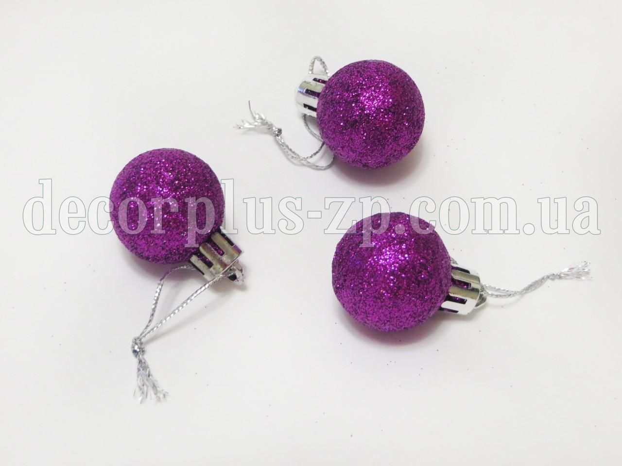 Игрушка новогодняя 3см фиолетовая. блеск