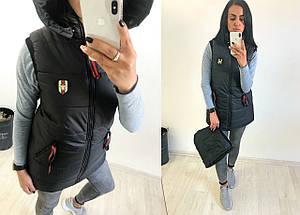 """Стеганый женский жилет на синтепоне """"UEXIB"""" с капюшоном и карманами (6 цветов), фото 2"""