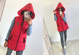 """Стеганый женский жилет на синтепоне """"UEXIB"""" с капюшоном и карманами (6 цветов), фото 3"""
