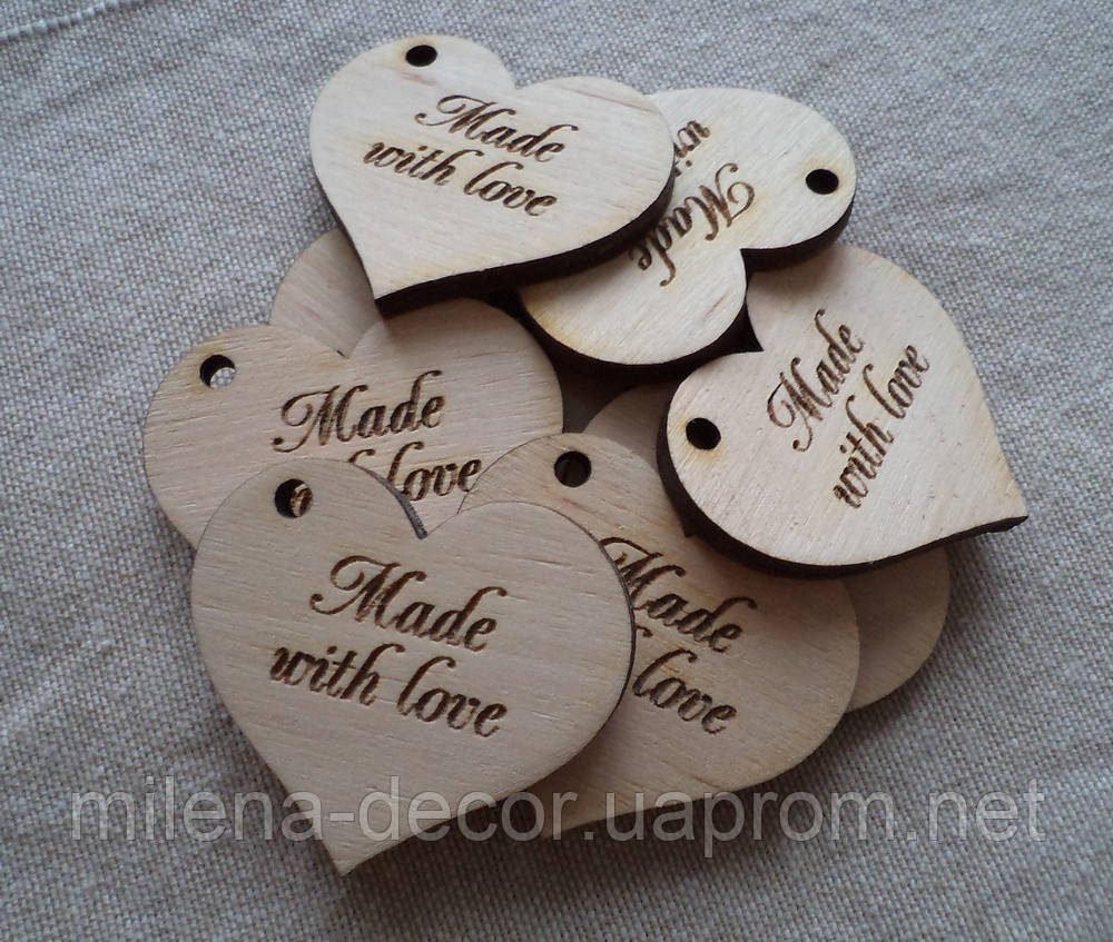 """Бирка сердечко """" made with love"""""""