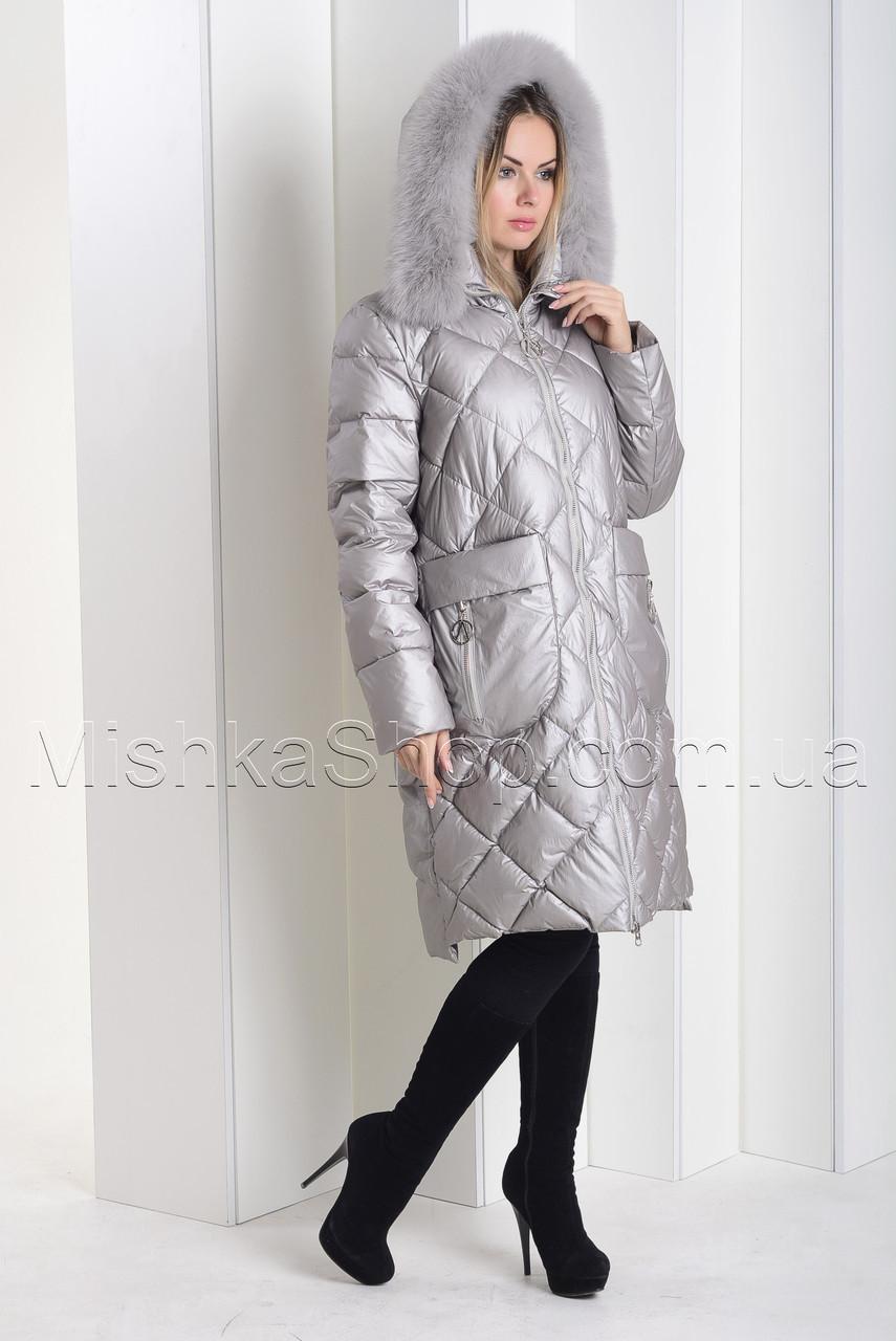 """Зимний пуховик из мягкой итальянской ткани больших размеров ZL.YA (ZLLY) 18659 с мехом песца цвета """"жемчуг"""""""