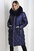 """Зимний пуховик из мягкой итальянской ткани больших размеров ZL.YA (ZLLY) 18659 с мехом песца цвета """"сапфир"""" 5XL"""