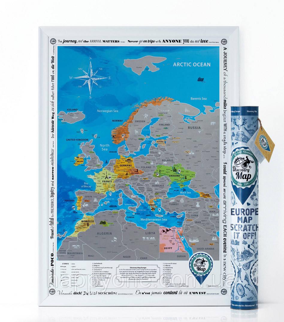 Стирающаяся скретч карта Европы Discovery Map Europe (в тубусе) английский язык