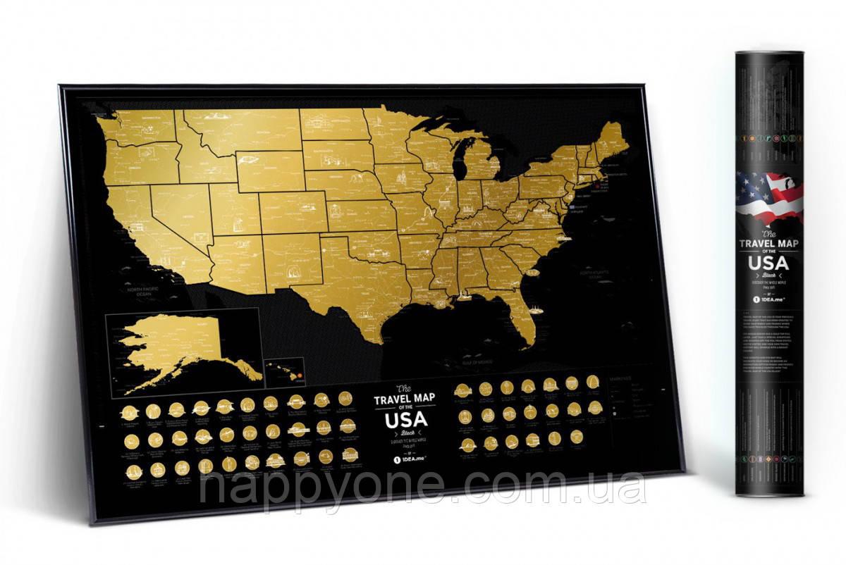 Стирающаяся скретч карта мира Travel Map of the USA Black (английский язык) в тубусе