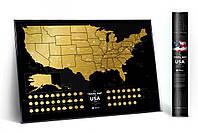Стирающаяся скретч карта мира Travel Map of the USA Black (английский язык) в тубусе, фото 1