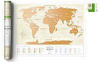 Стирающаяся скретч карта мира Travel Map Gold (украинский язык) в тубусе, фото 1