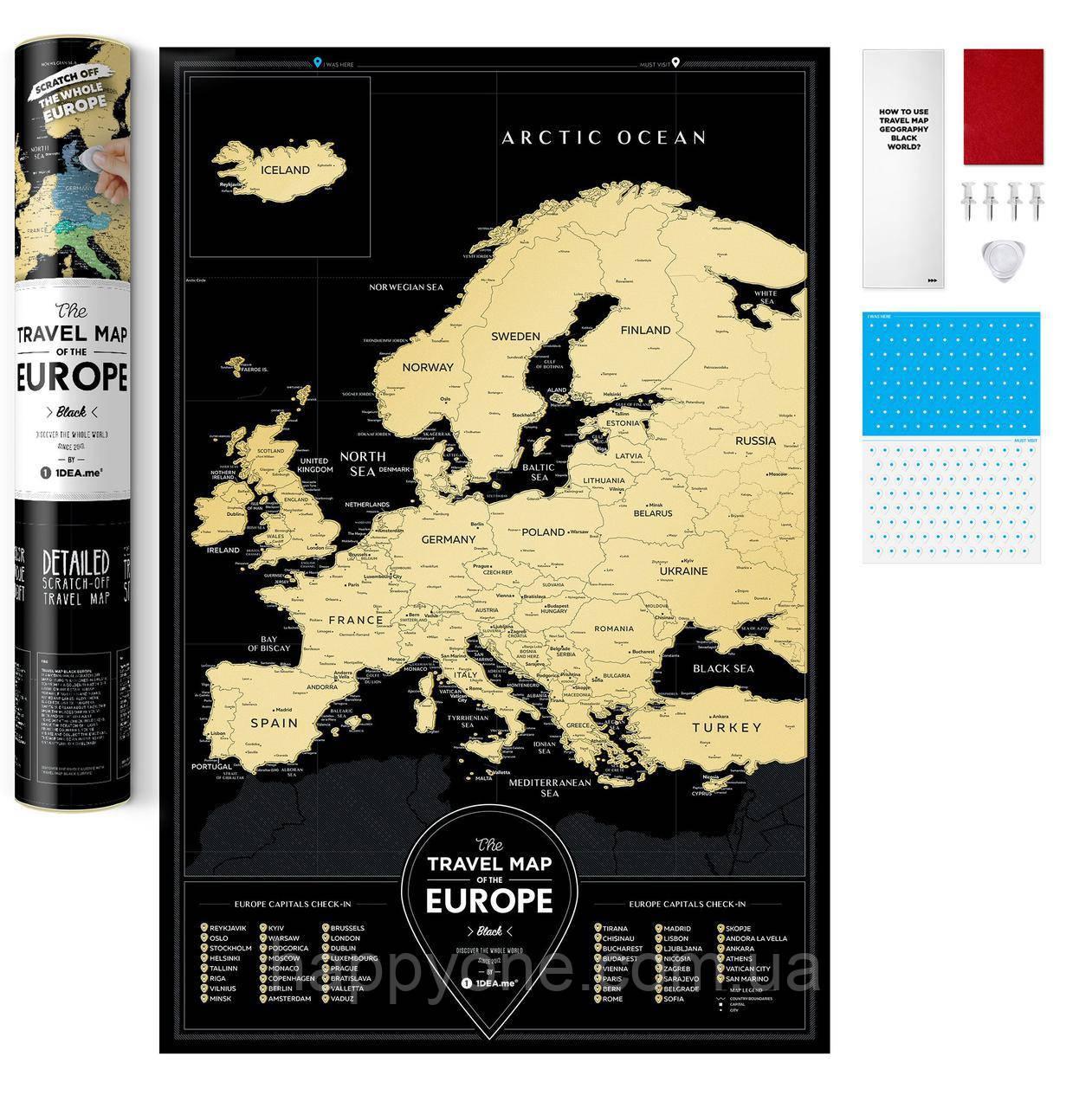Стирающаяся скретч карта Европы Travel Map Black Europe (английский язык) в тубусе